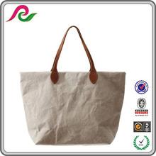 white biodegradable tearproof sewn kraft handbag washable