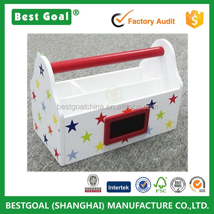 S20917 Art caddy With handles Multi stars design wooden kids storage box (1).jpg
