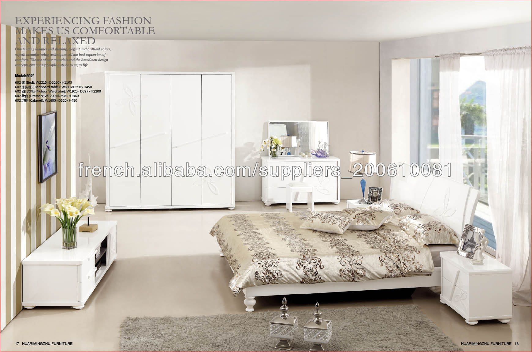 chambre coucher moderne blanc ensemble de meubles lots de literie id du produit 500000165976. Black Bedroom Furniture Sets. Home Design Ideas