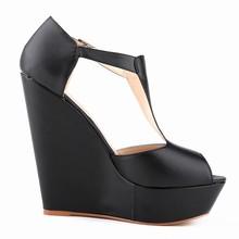 Nuevo diseño mate PU zapatos de plataforma zapatos para las damas