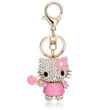 2015 fashion new design pink hello kitty keychain rhinestone lollipop luxury keychain