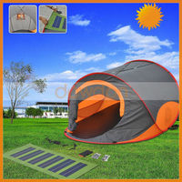 High Quality Material Portable Solar Panel Tent With LED Light And DC Fans
