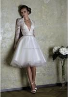 (MY0044) Marry You Long Sleeve Deep V-neck Short Tea Length Wedding Dress Patterns