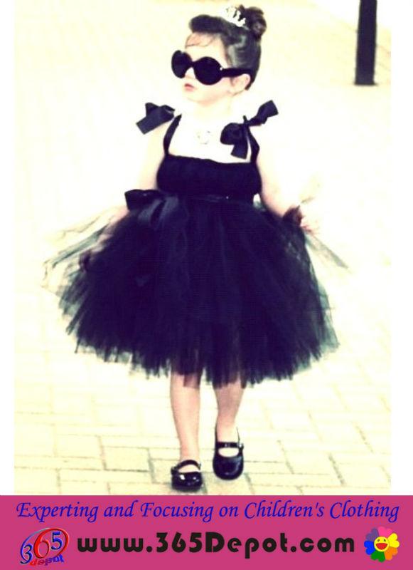 2014 novo design de tule preto meninas tule vestido para a festa