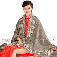 CX-B-P-40B 2015 Newest Design Pretty Shawls For Evening Dress With Rabbit Fur