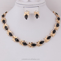 Gold Plated Black Resin 18k Gold Plated Jewelry Sets