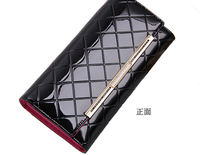 Lady leather female long Europe and the United States patent purse ling bump color wallet purses