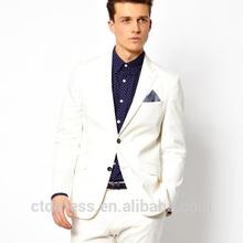 el último diseño slim fit blanco traje de algodón para hombres