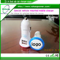 dual port usb car charger 5v/2100ma ,factory price car charger