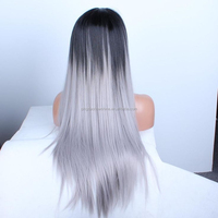 Wholesale Ombre grey indian remy gray hair full lace wig