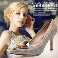 2014 New Arrival hot selling Europe and America style high heel pointed toe women leather shoes
