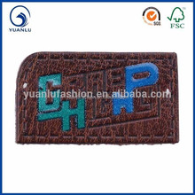 custom glitter embossed leaher label synthetic leather patch for garment