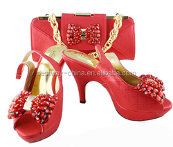 Italy design lady shoes&matching bags in red color for party MG0094