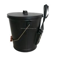 Popular High Quality Metal Black Ash Bucket With Shovel wooden handle alibaba china