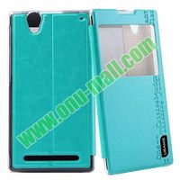 Pure Color Leather Case for sony xperia t2 ultra flip cover with Stand