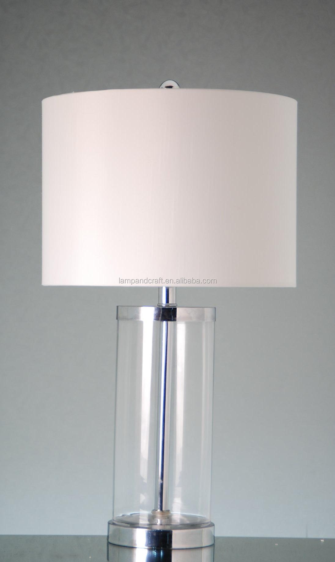 Op voorraad wijn rood glas tafellamp met witte stof lampenkap voor ...