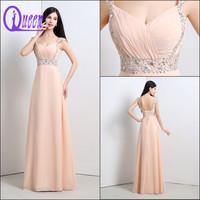 In Stock Elegant Long Chiffon Beaded Cheap Wholesale Evening Dress Online Shopping 2014
