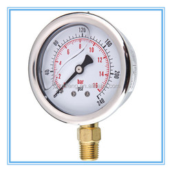 "1.5"" Glycerin filled bourdon tube price of hydraulic water pressure gauge"