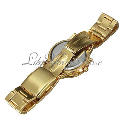 Lady's Gold Stainless Steel Band Diamond Round Dial Watch Women Luxury Quartz Wrist Watches New