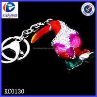 New Design Fashion Diamond colorful parrot 3D printing metal keychains