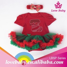 Boutique baby clothes rhinestone Christmas design organic cotton baby clothes