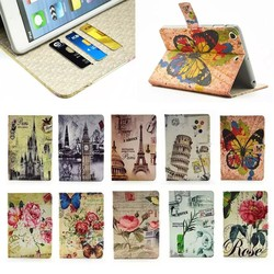Wholesale Fashion Colorful Flower Print PU Leather Case for iPad Air With Card Slot