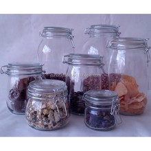 factory round glass clip lid jars, glass swing top jars