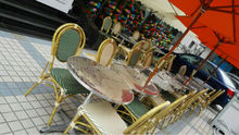 Aluminium Bamboo look Stacking Arm Cheap Wholesale cafe Chairs ,resturant chair