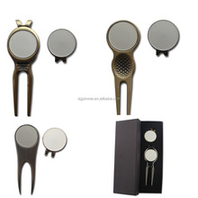 Lady golf ball markers tool/ Antique brass magnetic golf divot tools
