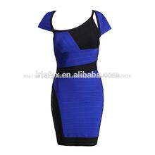 azul e preto curto sleeeve mascarada curto vestido de festa para senhoras padrões