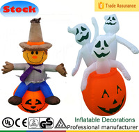 DJ-TL-074 4 ft inflatable Halloween toys sit on a pumpkin and three ghosts in pumpkin decoration