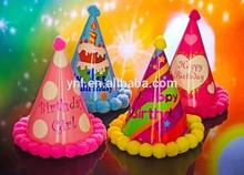 Nuevo diseño hechos a mano decoraciones de papel para fiestas de cumpleaños sombrero