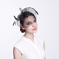 PP Black Fascinators With Feather Decoration