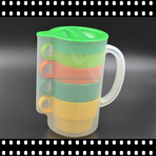 Colorful All in one Plastic Pitcher with Cups