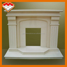 Artificial beige marble hand carved outdoor fireplace