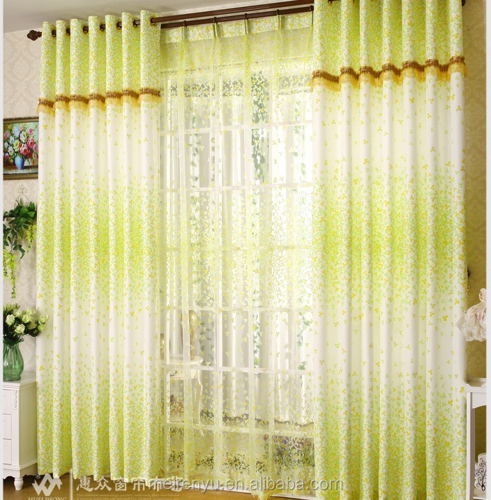 Cheap Floral Printed Bedroom Curtain Custom 2015 Simple
