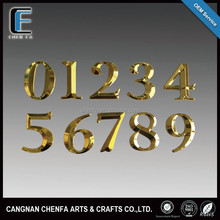 Decorative 3D outdoors ABS plastic(metal) chrome self adhesive House Door and Hotel Room Number Signs