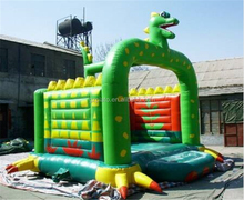Commercial green color inflatable bouncer dragon trampoline