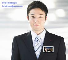 Li-battery 9-11hours Display 4GB Memory 3'' Screen W/ Magnet & Lanyard Wearable Nametag Badge Video Badge