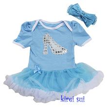 Mamelucos cortos de la manga del bebé en color azul y blanco, vestido de la princesa Cenicienta, 4 tamaños