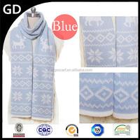 GDKK0051 fashion blue color print deer pattern warm cashmere Christmas scarf for girl