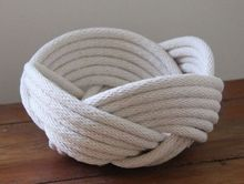 Handmade Rope Basket Bowl Unique LARGE Rope Multi Weave artware