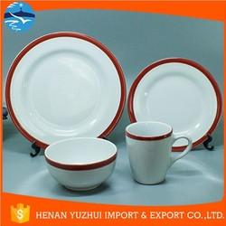 white dinnerware set with red edge, stoneware dinnerware