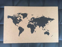 Customized corkboard wall world map with pushpins, wooden arts and crafts