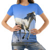Women's 3D Running Horses Print T-Shirts