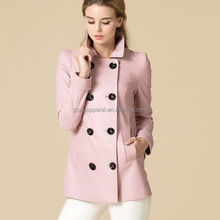 New women slim show thin PU leather coat with polo collar