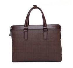 2015 New Design Grid Lines Laptop Handbag PU Leather Business Bag