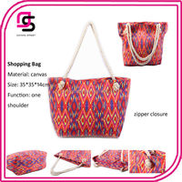 2014 reusable polyester shopping bags canvas chevron tote bag wholesale