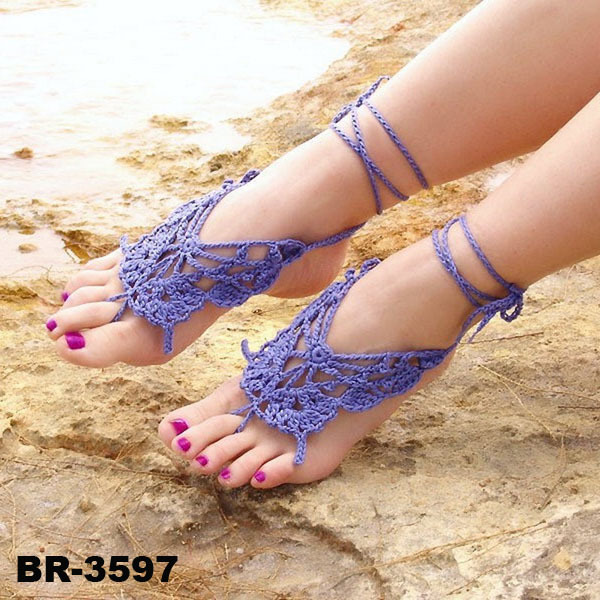 Purple Barefoot Sandals For Dance Yoga Party Anklet Toe