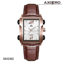 Fashion vintage wrist watch with 3 ATM water resistant genuine leather western wrist watches for men